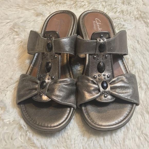 6d0475410ea Clarks Shoes - Clarks Metallic Leather Open Toe Slides Sandals